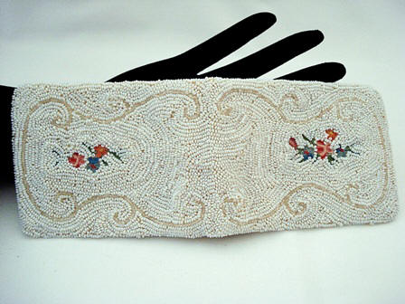 Made in France ladies beaded embroidered vintage wallet