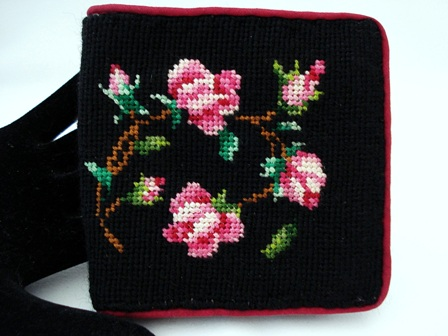 Vintage needlepoint ladies wallet with hot pink roses