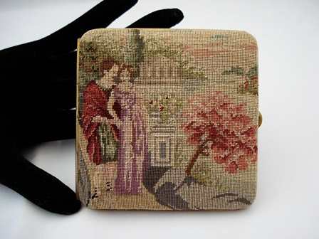 Vintage 1940's Austrian petit point mirrored purse case