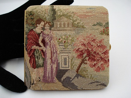 Austrian hand stitched petit point mirrored purse case