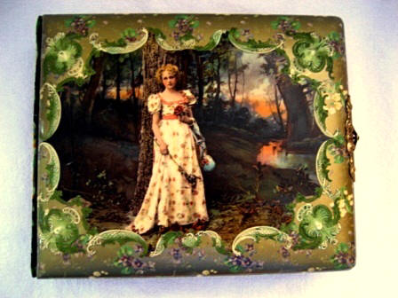 Antique Victorian celluloid photo picture album lady in the forest
