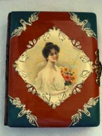 Antique Victorian celluloid photo album portrait lady with roses bouquet