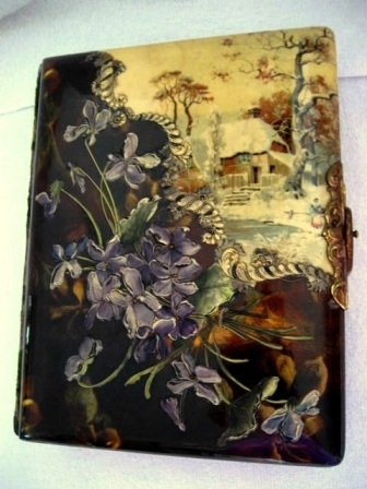 Antique Victorian celluloid photo album with embossed violets and wintery cottage scene