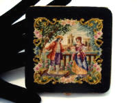 Austrian 1940 petit point figural scenic powder compact