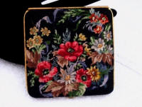 Vintage Austrian micro petit point floral ladies powder compact 1940