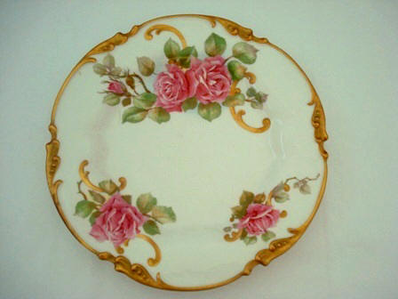 & Antique Limoges Cabinet Plate Roses French Porcelain