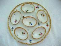 Antique Limoges porcelain egg serving tray with 6 individual attached eggs