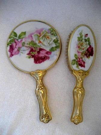 Art Nouveau Mirror Brush Set Roses Antique 1900 Porcelain