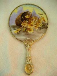 Antique Victorian porcelain hand mirror large basket of daisies with butterfly