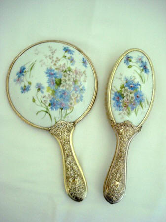 Antique Victorian Hand Mirror Brush Dresser Set Blue Cornflower Pattern