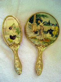Antique celluloid figural scenic hand mirror brush vanity set Art Nouveau late 1800's