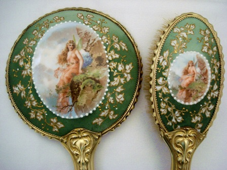 Antique figural scenic hand mirror brush set with hand painted details