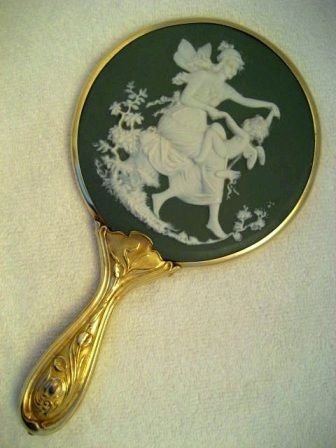 Antique Porcelain Hand Mirror Brush Set Lady At The Rock