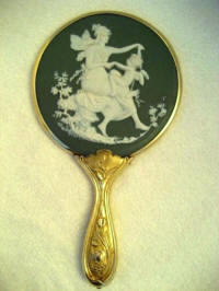 Antique Art Nouveau green Jasperware hand mirror 1900 Wedgwood