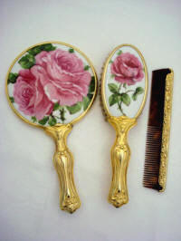 Art Nouveau hand mirror brush comb set big bold pink roses