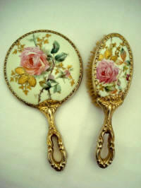 Victorian hand painted mirror brush vanity set roses and gold gilt