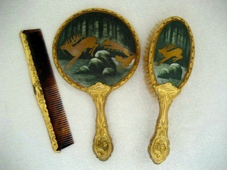 Antique Victorian porcelain backed hand mirror brush comb set with rare hunt scene gold gilt and Art Nouveau details