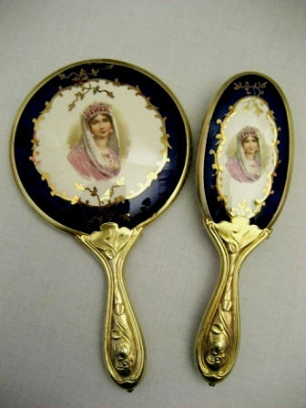 Hand Mirror Brush Josephine Portrait Porcelain Antique