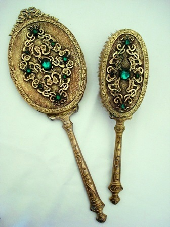 Antique Hand Mirror Brush Vanity Set Emerald Jewels