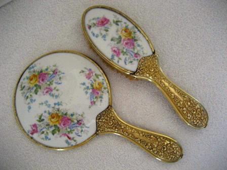 Antique Victorian Hand Mirror Brush Vanity Set 1900