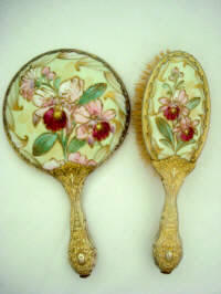 Antique Rosenthal hand mirror brush set hand painted raised gold gilt