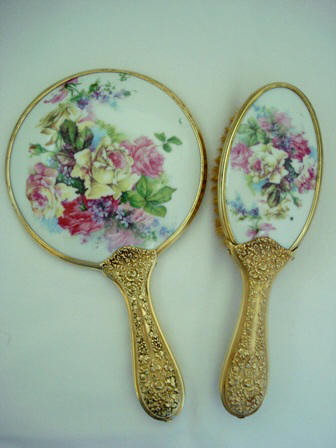 Victorian roses and violets porcelain hand mirror brush vanity set