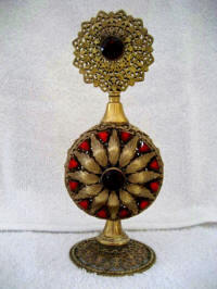 Vintage 1920 - 1930 Czech ruby jeweled perfume bottle