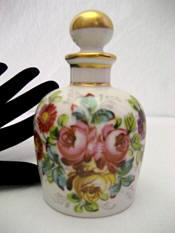 Vintage Limoges hand painted porcelain perfume bottle roses violets