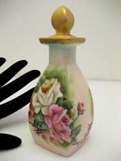 RS Germany hand painted roses porcelain perfume bottle