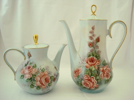 Vintage Hand Painted Teapot Coffee Pot Set Roses