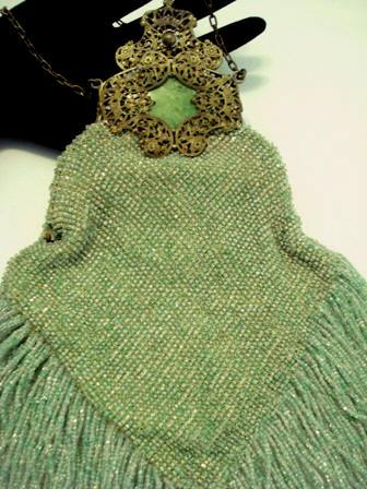 Antique knit beaded purse Victorian fliligree frame