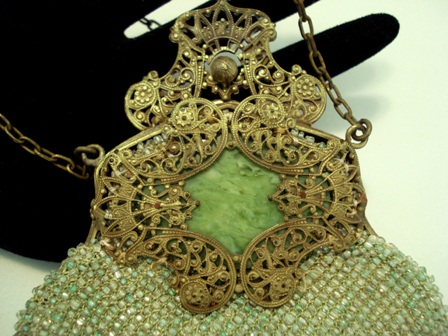 Antique beaded purse Victorian filigree frame