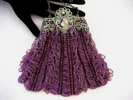 Antique Art Nouveau purple lavender knit beaded purse with rare portrait profile frame