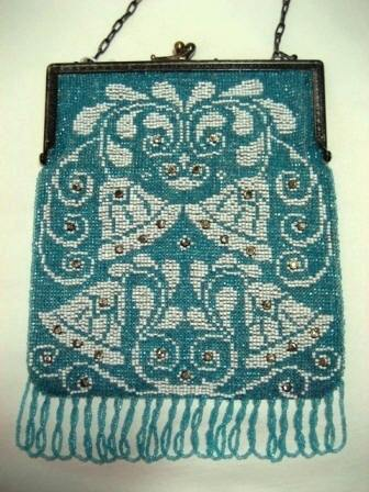 Antique German beaded purse 1900 1920 wedding bells on blue