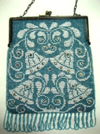 Antique German blue beaded purse with white wedding bells ca. 1900 1920