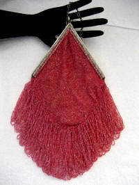 Antique cranberry pink beaded purse long fringes professionally restored