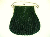 Emerald green knit swag glass beaded purse 1920 large