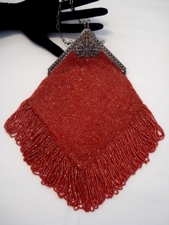 Antique 1900 - 1920 rustic orange red beaded fringed purse