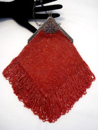 Vintage 1920 orange red beaded flapper purse with fringe