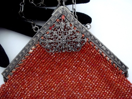 Antique beaded purse with angled filigree frame
