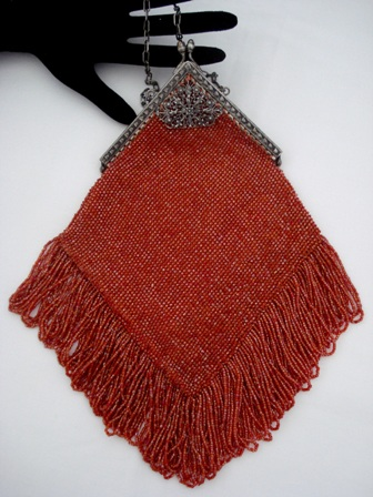Rustic orange red antique beaded fringed purse