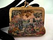 Antique dual sided micro petit point coin purse different scenes