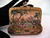 Vintage micro petit point 1920 - 1930 change purse 2 different scenes