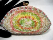 Vintage all beaded pastel change purse ca. 1930 - 1940