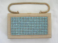 Vintage compact carry all purse with blue rhinestones