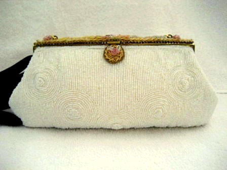Vintage 1930 1940 Delill designer beaded evening purse with Limoges porcelain and beaded frame