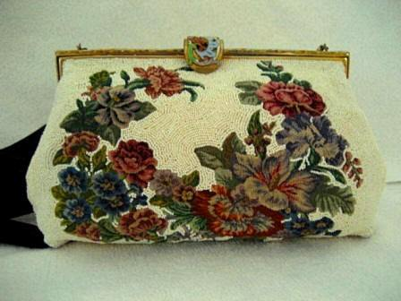 1920 1930 Ed B Robinson ivory beaded micro petit point purse enameled Champleve frame