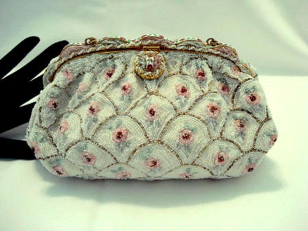 Freddy of Paris beaded purse roses ribbin enameled frame vintage