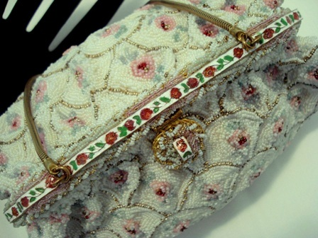 Vintage Freddy French beaded purse ribbon enameled frame