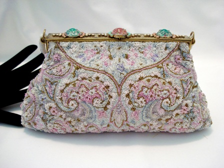 Vintage 1930 French beaded evening purse enameled frame Saks Fifth Avenue